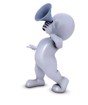 3d morph man figuur met megafoon