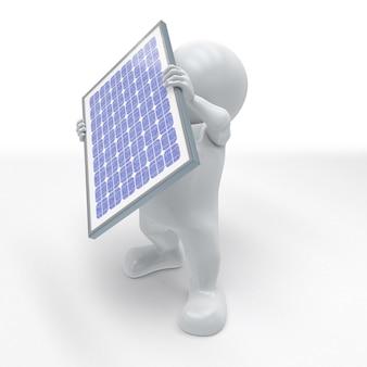 3d morph man met zonnepaneel