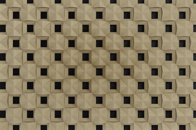 3d muur, bruine 3d grafisch op zwarte achtergrond.