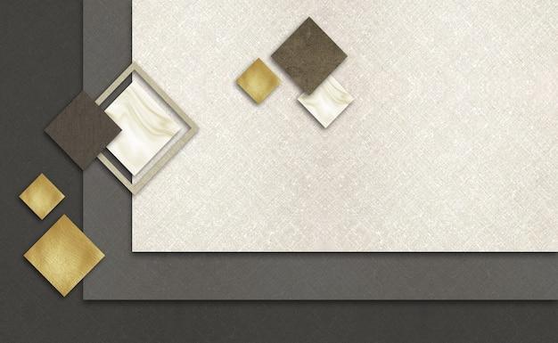 3d muurschildering behang beige en donker textiel en gouden vierkanten op klassieke achtergrond voor woondecoratie
