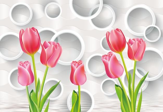 3d muurschildering illustratie behang met bloemen en cirkels in lichtgrijze achtergrond voor woondecoratie