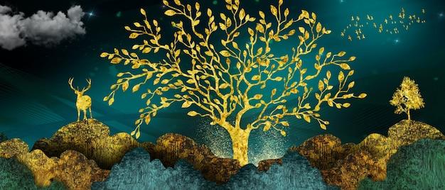 3d muurschildering landschap behang gouden bomen en herten met heuvels bergen stijl op vintage aquarel