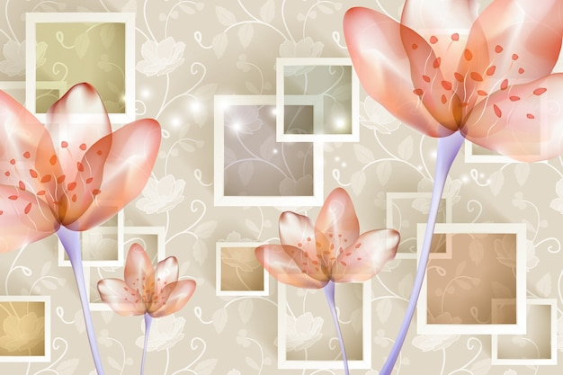 3d muurschildering modern behang roze bloemen met vierkanten en decoratieve achtergrond