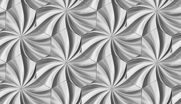 3d naadloos patroon simuleert architecturale bladeren volumetrische panelen van zilveren metalen tegels.