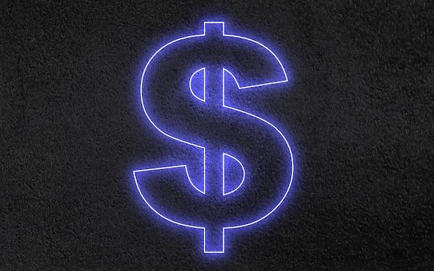 3d neon dollarteken concept