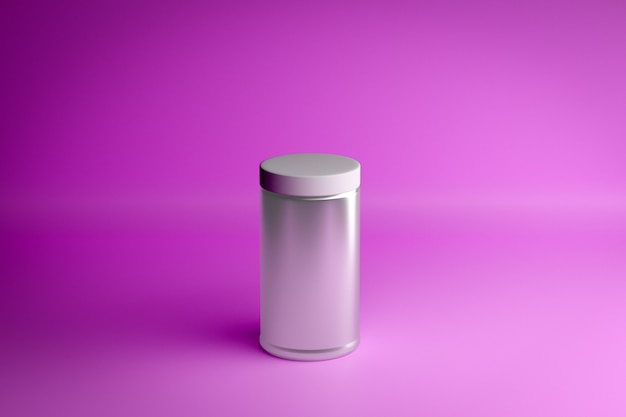 3d neon illustratie van de close-up. glazen pot met een schroefdop op een roze achtergrond. minimalistische weergave met een grijze cilinder