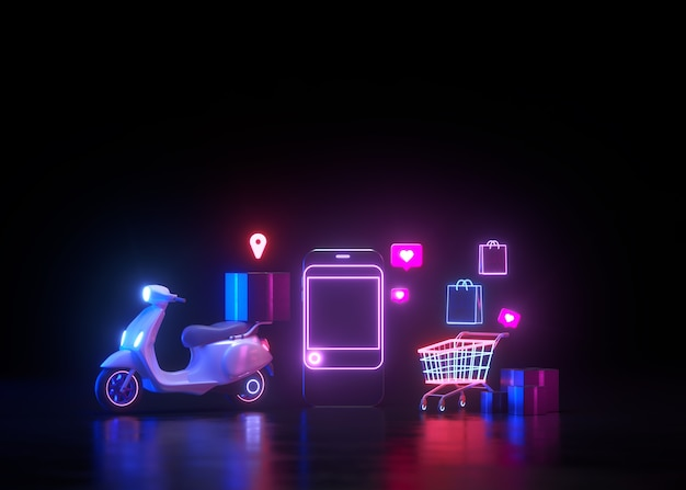3d neon online winkelen en gratis levering door scooterserviceconcept, futuristisch neonlicht.