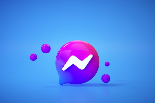 3d nieuwe facebook messenger-logotoepassing op blauwe achtergrond, sociale mediacommunicatie.