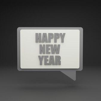 3d nieuwe jaar praatjebel op grijze achtergrond