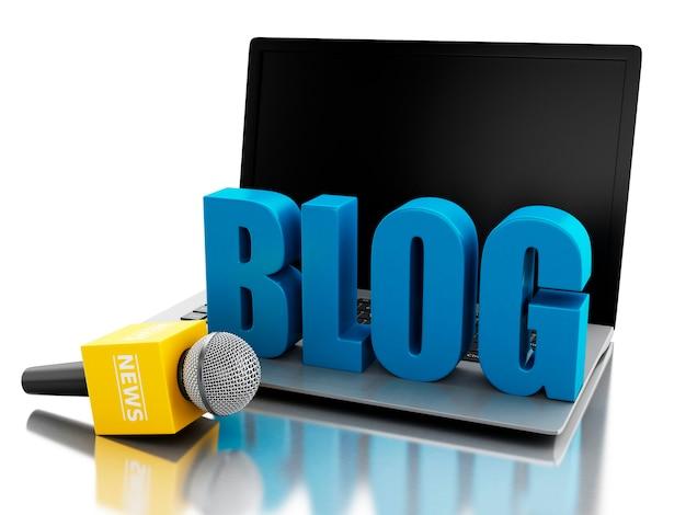 3d nieuws microfoon en laptop met woord blog.