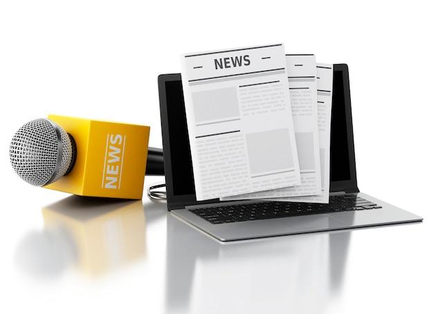 3d nieuwsmicrofoon en laptop met nieuwsartikel.