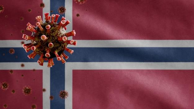 3d, noorse vlag zwaaien en coronavirus 2019 ncov-concept. aziatische uitbraak in noorwegen, coronavirussen influenza als gevaarlijke gevallen van griepstammen als een pandemie. microscoopvirus covid 19