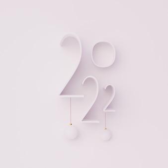 3d-nummer gelukkig 2022 nieuwjaar render illustratie