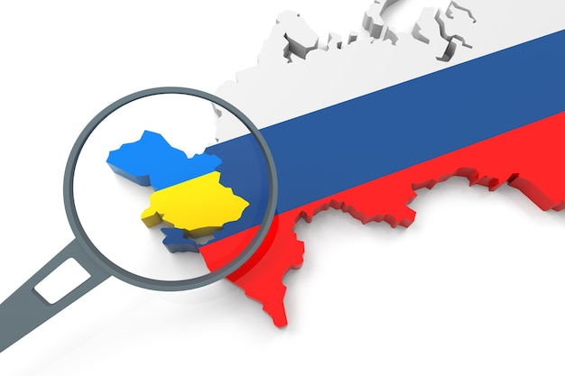3d oekraïne en rusland kaart met vergrootglas