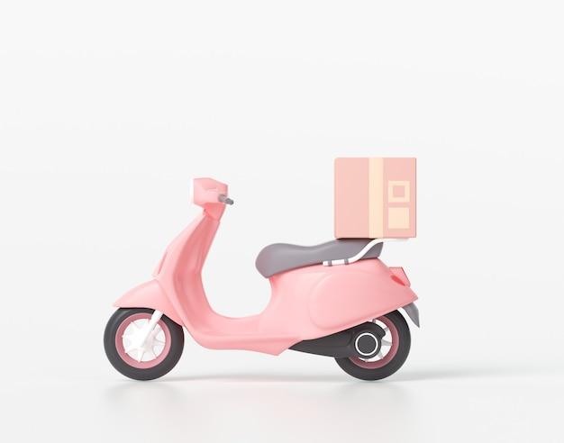 3d online express scooterserviceconcept, snelle levering per scooter, koerier ophalen, bezorgen, online verzendservices. 3d-afbeelding