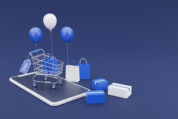 3d online het winkelen promotieconcept met smartphonemodel. op donkere achtergrond. 3d-rendering.