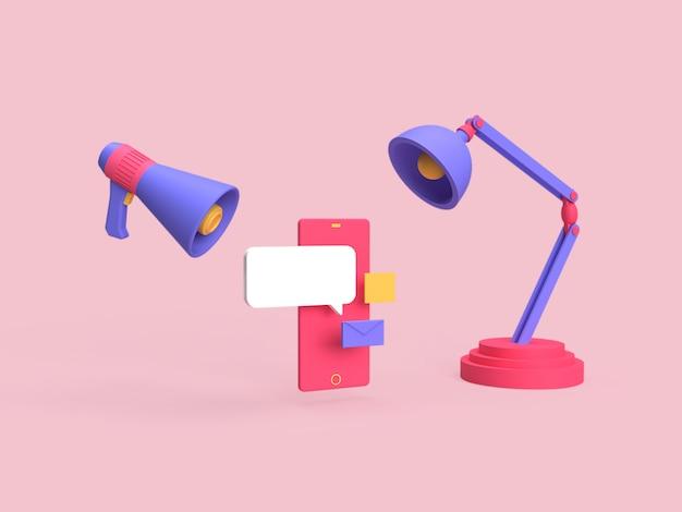 3d online marketing reclamecampagne op social media concept weergegeven met roze achtergrond weergegeven