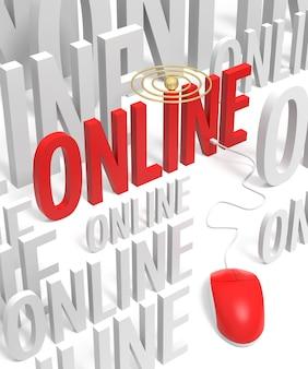 3d online tekst met computermuis. 3d-rendering