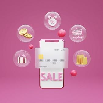 3d online winkelen concept met winkelwagentje, geld, geschenkdoos en mobiele telefoon. 3d-weergave.