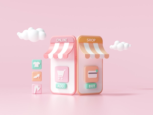 3d online winkelen op de smartphone-applicatieservice