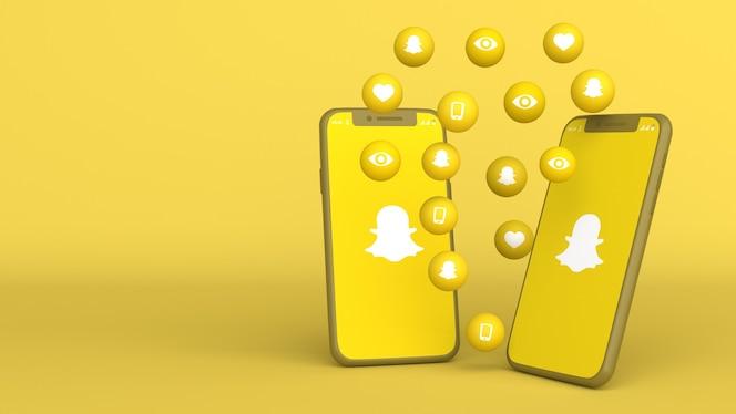 3d-ontwerp van twee telefoons met snapchat opduiken pictogrammen