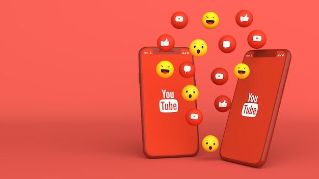 3d-ontwerp van twee telefoons met youtube opduiken pictogrammen