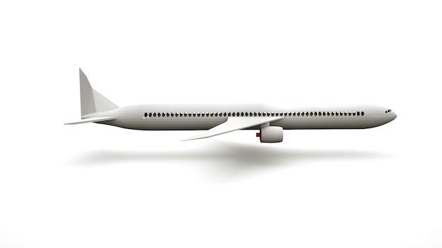 3d-ontwerpelement, realistisch groot vliegtuig, luchtvervoer. reclame-designobject, zijaanzicht.