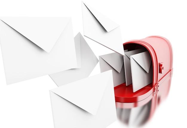 3d open mailbox met at-teken