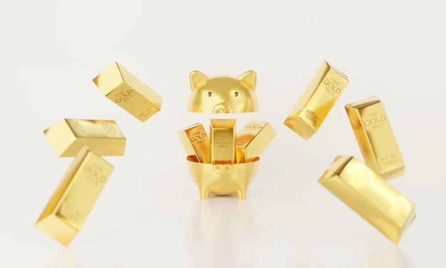 3d-open spaarvarken met metalen goudstaaf.