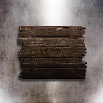 3d oud houten teken op een textuur van het grungemetaal