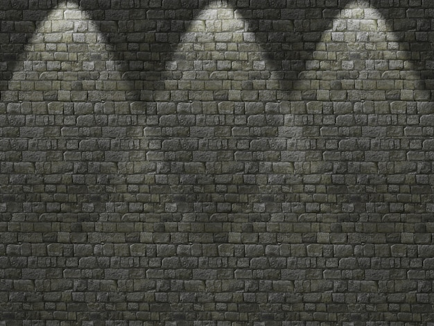 3d oude bakstenen muur met schijnwerpers schijnt naar beneden