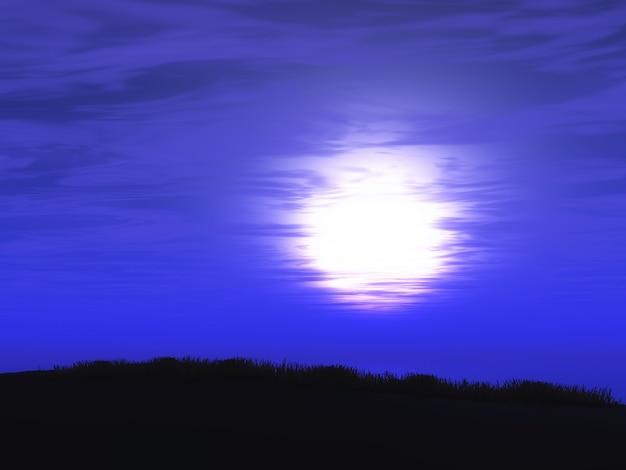 3d paarse landschap van de zonsonderganghemel