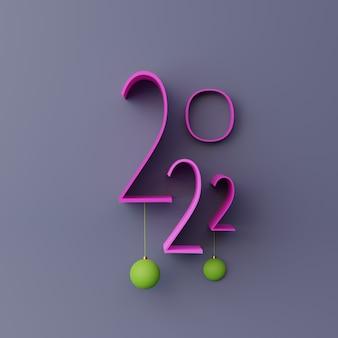 3d-paarse nummer 2022 nieuwjaar render illustratie