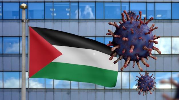3d, palestijnse vlag die zwaait met moderne wolkenkrabberstad en uitbraak van coronavirus. influenza type covid 19-virus met de nationale banner van palestina die op de achtergrond waait.