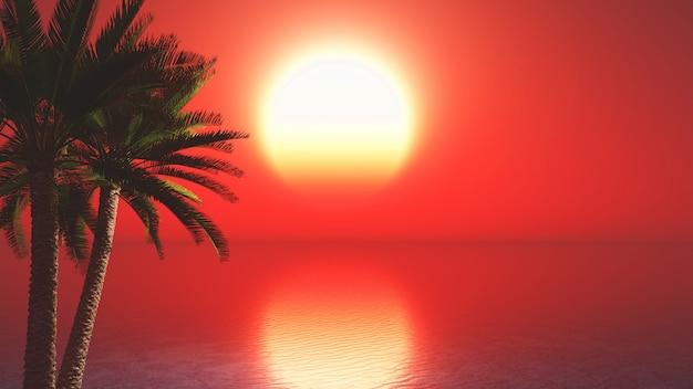 3d palmbomen tegen zonsondergang oceaan landschap