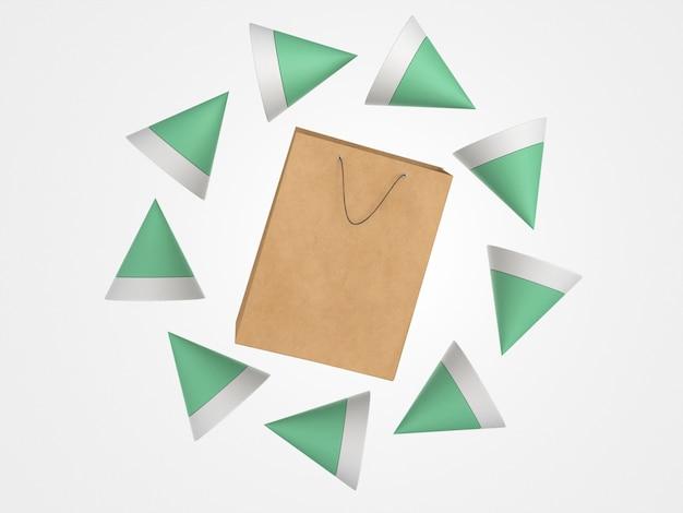 3d-papieren boodschappentas omgeven door veelhoekige vormen