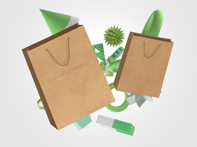 3d-papieren boodschappentassen en geometrische objecten