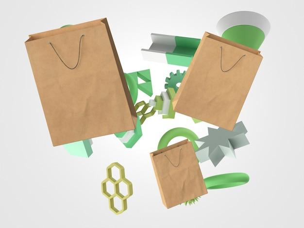 3d-papieren boodschappentassen en geometrische vormen