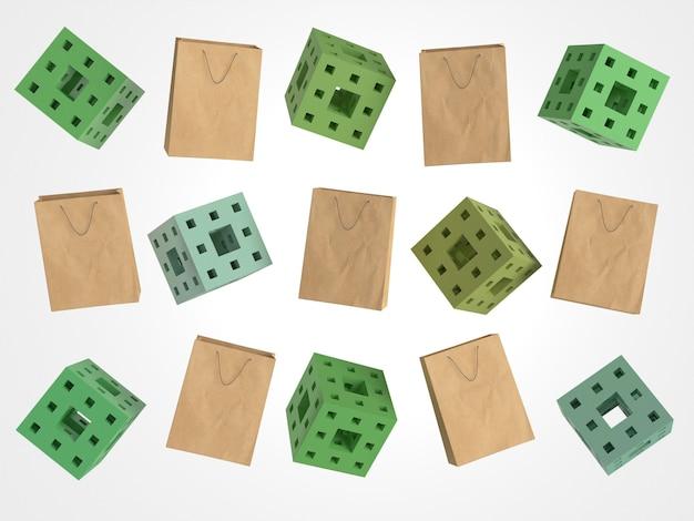 3d papieren boodschappentassen en vierkanten met gaten