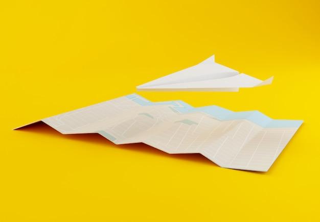 3d papieren vliegtuigje met wereldkaart