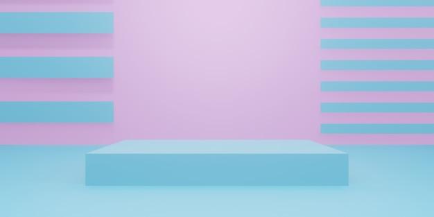3d pastel minimaal productmodel. roze en blauwe standaard.