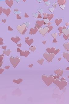 3d pastel roze vliegende harten poster voor valentijnsdag thema verticaal ontwerp in zoete roze kleur