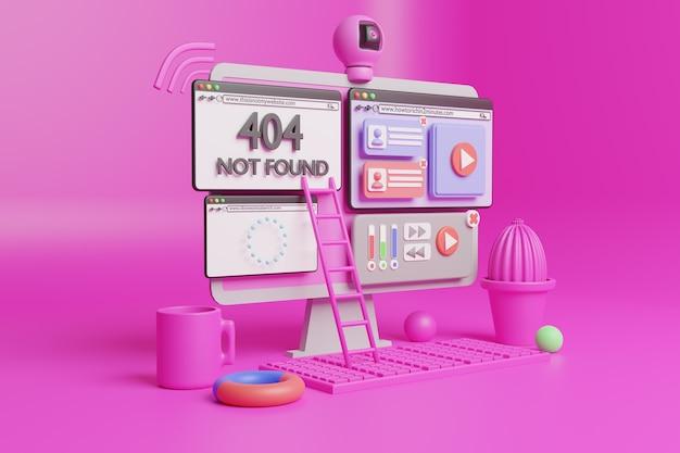 3d pc-website illustratie
