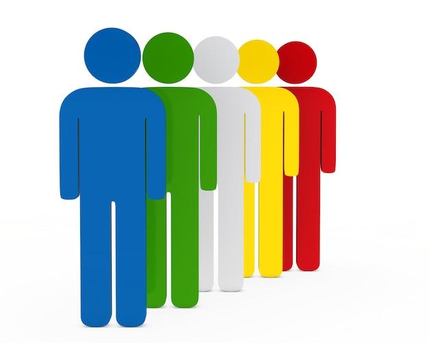 3d-personages in verschillende kleuren