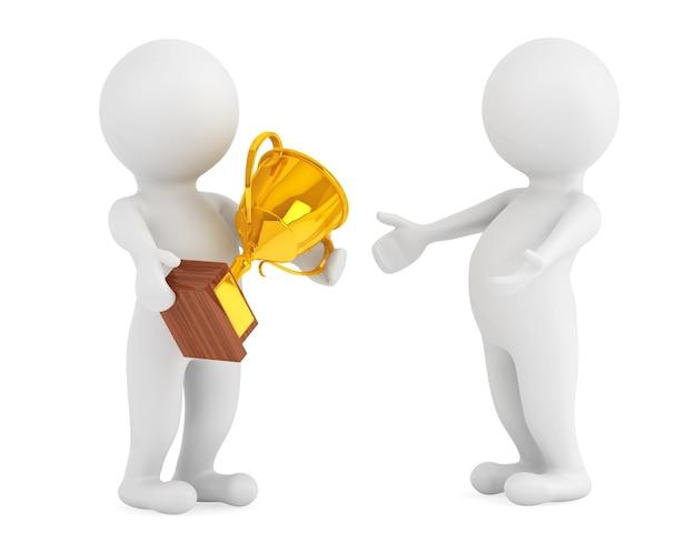3d-personen met een gouden trofee in handen op een witte achtergrond