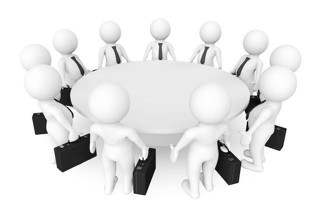 3d personen ontmoeten elkaar aan de vergadertafel op een witte achtergrond