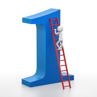 3d persoon beklimt een ladder die bovenaan de nummer één leidt. 3d-rendering afbeelding