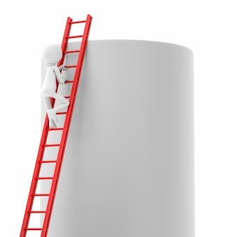 3d persoon die ladder over een cilinderwand beklimt. 3d-rendering afbeelding