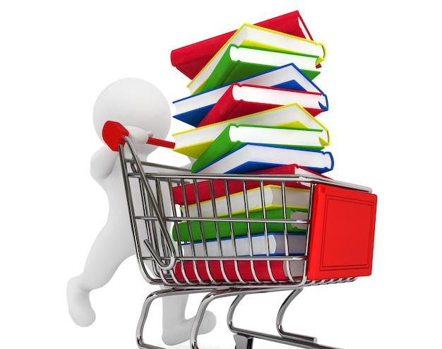 3d-persoon duwen winkelwagentje met boeken een witte achtergrond