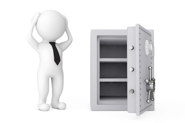 3d persoon failliet benadrukt in de buurt van metal safe op een witte achtergrond. 3d-rendering.